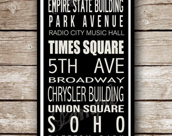 Made to Order- Custom New York City Destination Poster in Printable File