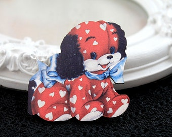Puppy dog toy wooden brooch cute woodland  red blue white heart