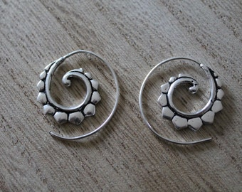 Small spiral hoop earrings