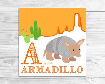 Instant Download: A is for Armadillo Wall Art Print // Baby Art, Nursery Art, Alphabet Art