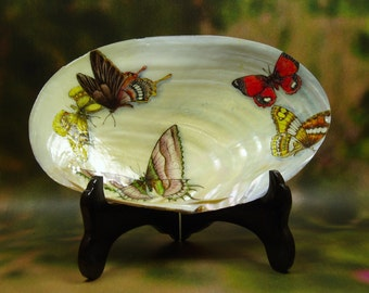 Butterflies/ Hand Painted Abalone Shell/ Sea Shell Art/ Hand Painted Sea Shell