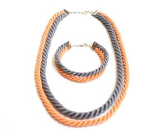 Orange and gray rope jewelry set: handmade necklace and bracelet.