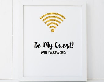 Customizable Guest Internet Be My Guest WiFi Password Sign Use Dry Erase Marker - Disney AirBNB Home Decor Printable Wall Art