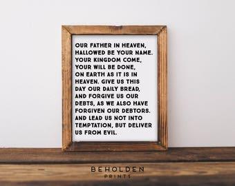 Scripture Wall Art, The Lords Prayer, Hymn Art, Hymn Print, Lords Prayer, Dorm Decor, Christian Quotes, Typography, Bible Verse Print