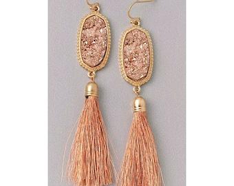 Druzy gold tone tassel earrings
