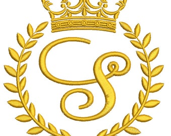 """Crown, laurel wreath and the monogram letter """"S"""" - Machine embroidery design,   design tested."""
