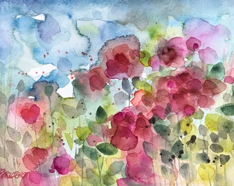 Original floral watercolor painting art contemporary nature flowers wildflowers blossoms impressionist