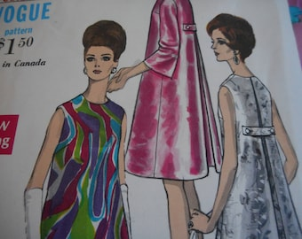 Vintage 1960's Vogue 7240 Mod Dress Sewing Pattern Size 8 Bust 31.5