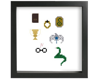 Horcruxes cross stitch pattern, deathly hallows, modern cross stitch, pop culture, easy cross stitch pattern gift for friend, nerdy, geekery