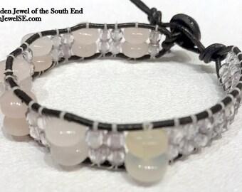Rose Quartz, and Crystal Black Leather Wrap  black and pink bracelet, black wrap (WR78)