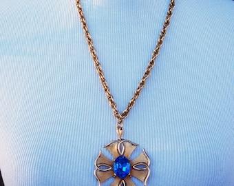 Trifari gold tone Maltese Cross Pendant Blue rhinestone - Marked down for Spring!