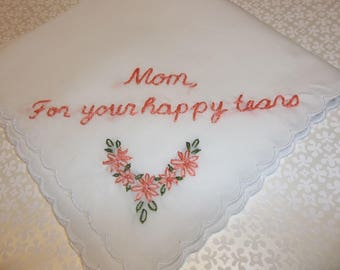 Mom  gift, wedding handkerchief, coral / olive green color, mother of groom, mother of bride gift, bride to mom, hand embroidered, mom gift