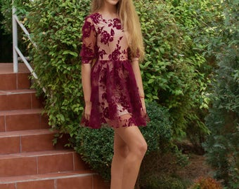 Transparent burgundy dress with the body colour lining for young girls