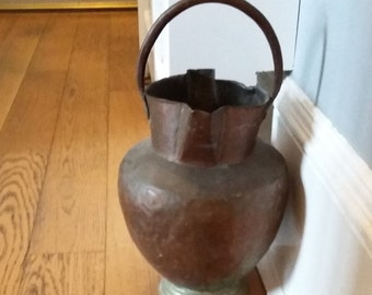 Vintage Copper and Brass Water Carrier Jug Old Eastern Pitcher