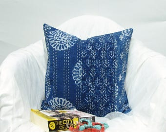 Indigo Handmade Kantha pillow cover,cushion cover,throw pillow, 16 x16 inches. Boho,Bohemian,India art and crafts,Indian handicrafts,hippie