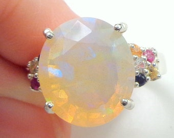 HUGE 6 Ct., Welo Opal,Fancy Sapphires,Sterling Silver Ring,Beautiful,Natural Gemstones, Peach,Lavender, Blue, Teal Green, Yellow Color Play