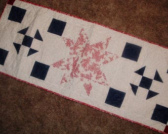 Quilted Patriotic Table Runner Red White Blue 15 x 38 1/2 inches