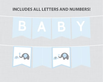Printable Blue Elephant Baby Shower Banner - Blue and Gray Elephant Banner, Customizable DIY Banner with ALL Letters And Numbers - 0024-B