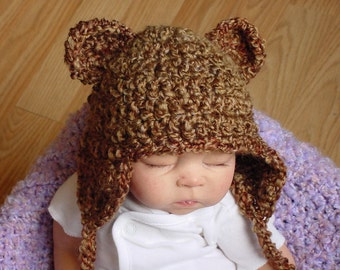 Brown Baby Bear Hat  3 to 6 Months, Photo Prop