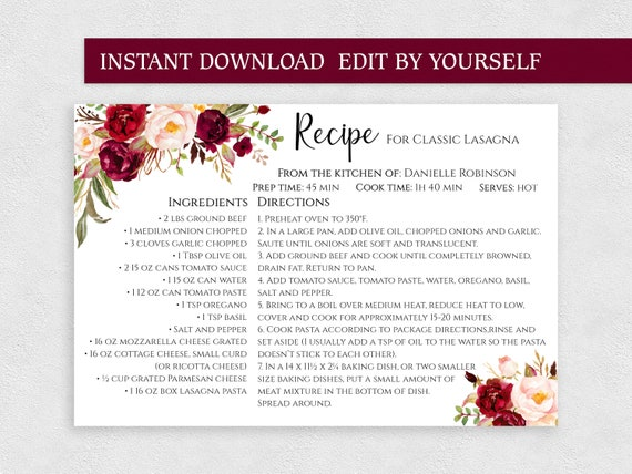 editable recipe cards 4x6 printable two sided personalized recipe card template for bridal