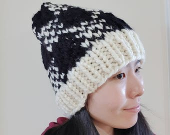 READY TO SHIP-Black and White Plaid Knit Hat - Chunky Knit Winter Beanie - Winter Knit hat - Knit beanie