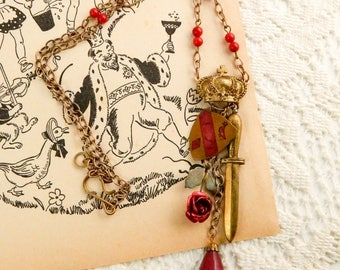 Prince charming statement necklace / fairy tale jewelry / assemblage necklace / recycled jewelry / fairy tale necklace / royalty jewelry