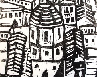 View Over Roof Tops (Rome), a lino print in black and white, wall decor