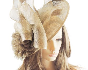 Saratoga Metallic Gold Fascinator Hat for Weddings, Kentucky Derby With Headband (40 colours)