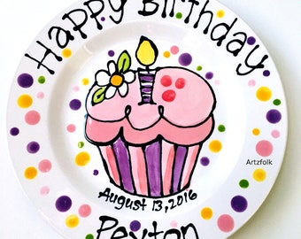 Personalized with name and date ceramic Birthday Plate daisy and cupcake  sc 1 st  Etsy & Personalized ceramic Birthday Plate daisy and cupcake perfect
