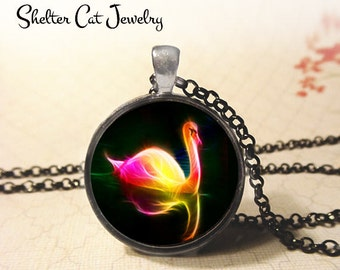 "Swan in Fractals Necklace - 1-1/4"" Circle Pendant or Key Ring - Handmade Wearable Photo Art Jewelry - Nature Art, Wildlife, Bird Lover Gift"