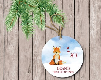 Baby's First Christmas Ornament, Fox Ornament, Forest Ornament, Baby Shower Gift, Baby Girl, First Christmas, Fox, Personalized