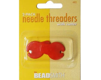 Beadsmith Needle Threaders with Cutter 2pk
