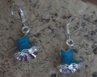 Lever back earrings little blue dress