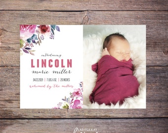 Floral Birth Announcements, Baby Girl Birth Announcement, New Baby Invite,  Printable, Custom Photo Card –Lincoln