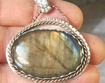 Labradorite Sterling Silver and Copper Mixed Metal Pendant