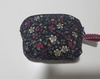 "Wallet trendy and elegant Velvet ""liberty"", 11 cm x 8 cm x 3 cm at the base fabric"
