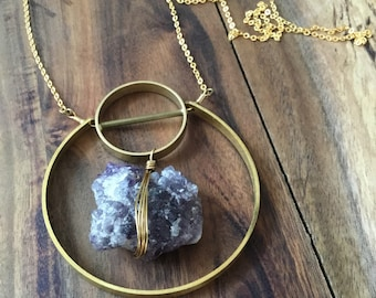 Rough amethyst and brass ring necklace