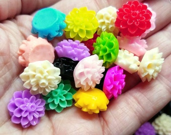 16mm Dahlia Cabochons Colorful Flower Flatback Resin Glue-on Decoden Assortment