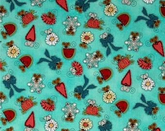Fat Quarter Sweet Little Mice Celebrating all the Holidays / Seasons Fabric on an Aqua Background