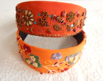 Orange bright floral embroidered wide fabric headbands, headbands for women, hair accessory,