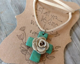 Turquoise cross necklace, rose necklace, rustic choker, Western cross necklace, turquoise boho necklace, rustic rose necklace, boho choker