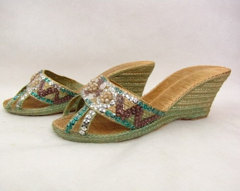 Vintage 1930s Woven Sandals | Grass Wedgies | Green | Beaded Shoes | Sequins | Glamour | Resort Shoes | Beach Sandals