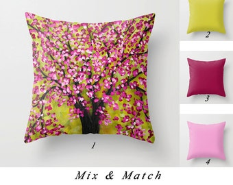Cherry Tree Pillow Cover Pink Apple Green Burgundy Throw Pillow Art Pillow Decorative Pillows Cushion Cover Solid Pillows Living Room Pillow