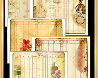 Junk Journal  Set of 10 Vintage Collage Accounting Book Pages Digital Printable INSTANT DOWNLOAD