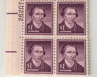 SALE 1955 Patrick Henry Mint Plate Block of 4 One Dollar Stamps UNCIRCULATED and MINT Vintage Stamp Collection