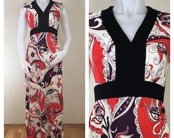 30% Off Sale 60s 70s Red Purple Paisley Sleeveless Empire Waist Maxi Dress, Size Medium