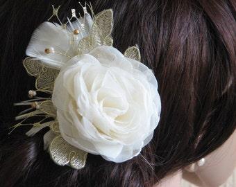 Wedding hair flower Ivory hair flower Ivory wedding hair piece Ivory gold hair flower Gold lace hair pin Ivory gold hair flower Gold flower