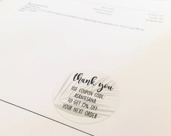Custom coupon code stickers business stickers thank you stickers shop stickers stationery business stationery envelope seals, sticker
