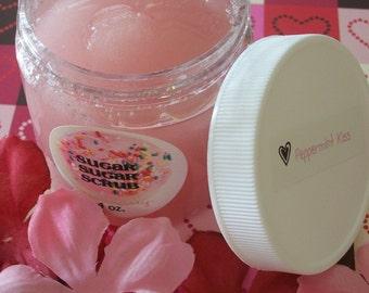 PEPPERMINT KISS Body Sugar Scrub - Organic Sugar - Body Polish - Gift for Her - Cruelty Free - 1 or 4 oz. - Gift for Her Vegan Friendly