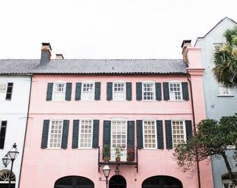 Pink Charleston Rainbow Row Home Print